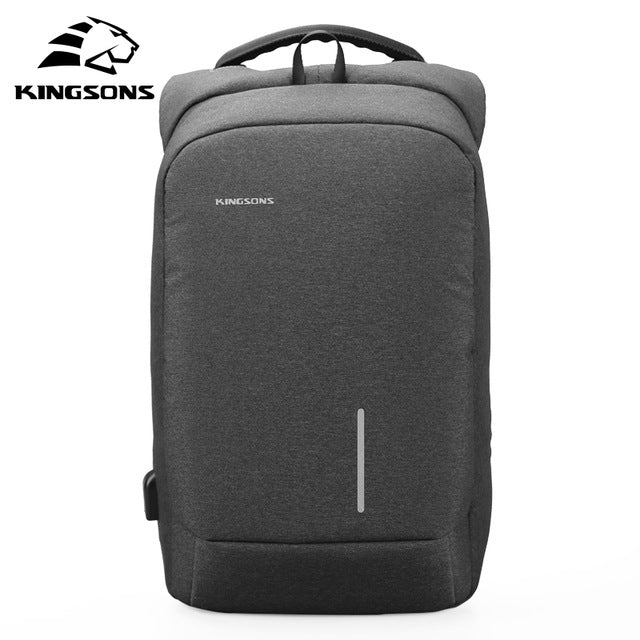 Kingsons 13 15 Inch Men Laptop Backpack External USB Charge Anti-theft Wearable Waterproof Backpacks Fashion Bags New Arrival