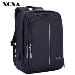XQXA Men Laptop Backpack 15.6 17.3 Inch Anti-theft USB Charging Travel Backpack for Man Casaul Daypack Mochila Rucksack Black