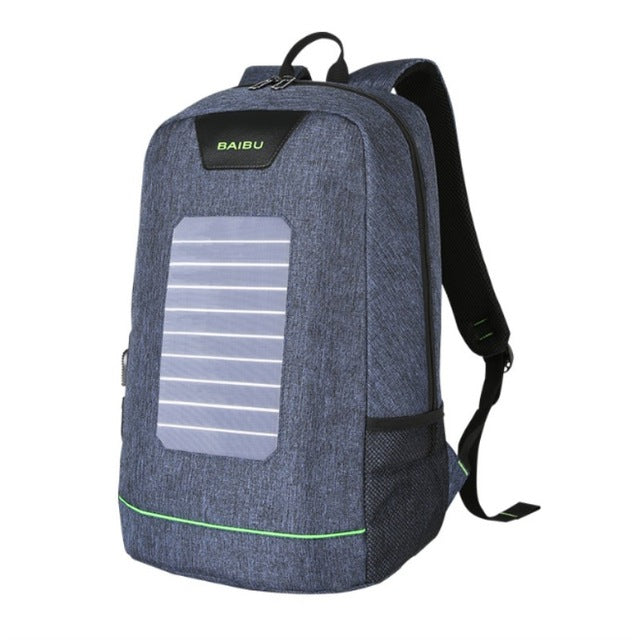 Solar Panel Laptop Backpack with USB Charging
