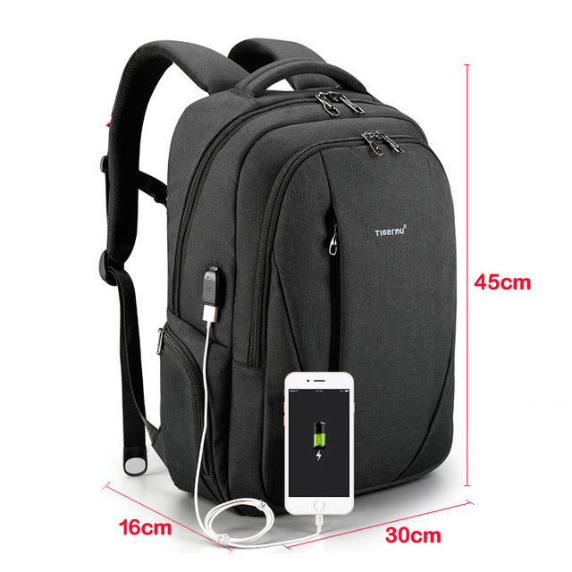 2018 Tigernu brand multifunction USB silm 15.6 laptop backpack men anti-theft backpacks school bags for teenagers women mochila