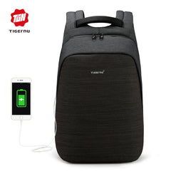 Tigernu 100% anti-theft laptop backpack usb charging 15.6 backpacks men slim multi-functional waterproof school backpack bag
