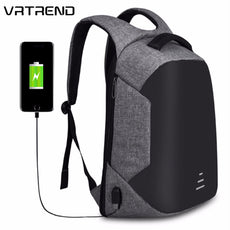 VRTREND Men USB Charging Waterproof Travel Backpack Teenagers Anti-theft 15.6 Inch Laptop Backpack Bag For Male College Student