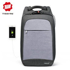 Tigernu Laptop Backpack Business Bags USB Charging Male Mochila Anti-Theft Water Resistant School Bookbag for College Travel