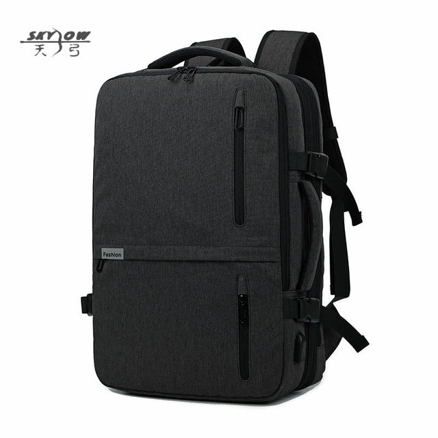 2018 USB Bags Laptop Backpack 17 19 in Men Casual Waterproof Business 20-35L 8827 Large Capacity Bag Male Gray Black Travel Bags