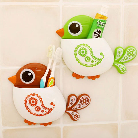 Bird Toothbrush Holder - Wall Mount