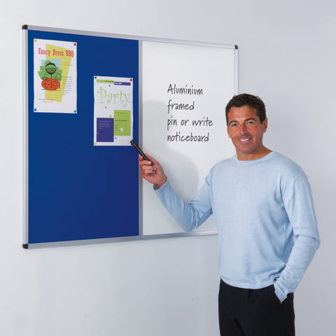 Metroplan Aluminium Framed Dual Faced Whiteboard Noticeboard