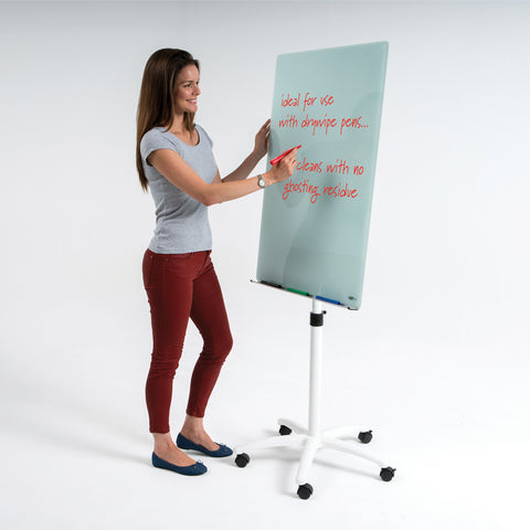 WriteOn® Magnetic Glass Flipchart Easels