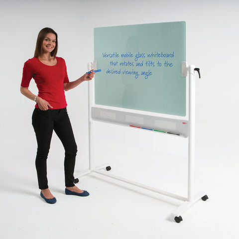 WriteOn® Magnetic Glass Revolving Whiteboards