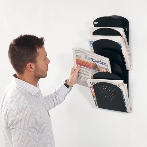 Metroplan Steel 7 pocket wall mounted rack