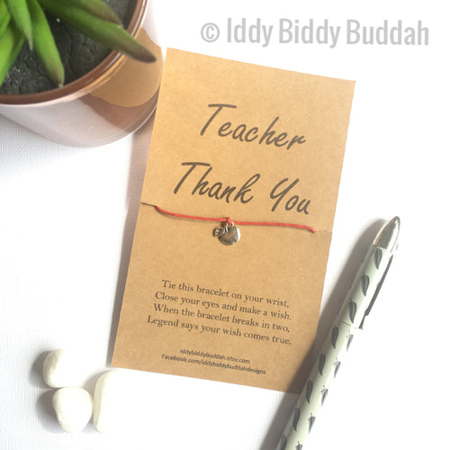 Thank You Teacher Wish Bracelet (Silver tone charm)