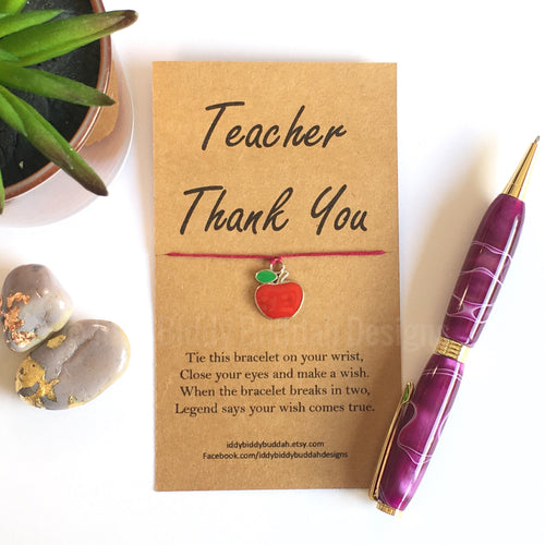 Teacher Thank You Wish Bracelet (Red Apple charm)