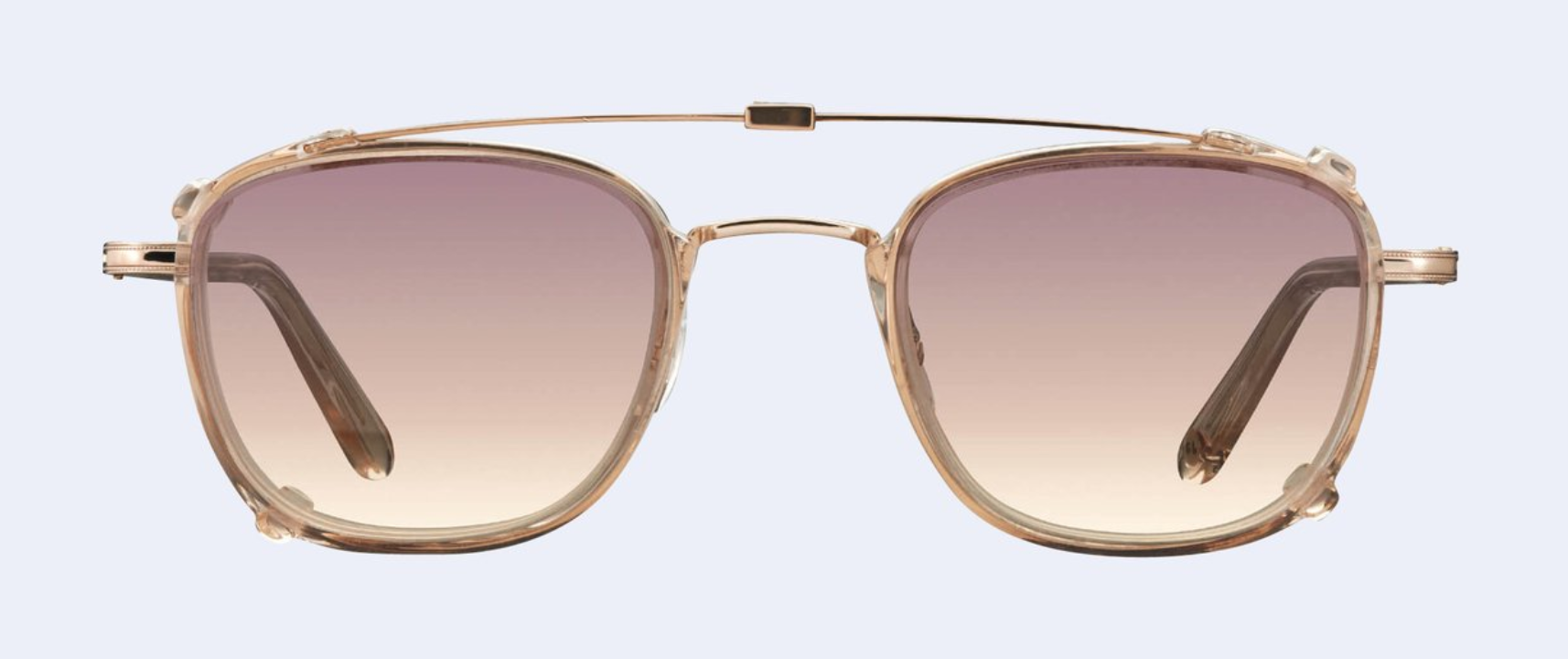 Garrett Leight Garfield Clip in Copper-Nude with Sunrise Gradient Mirror Lens