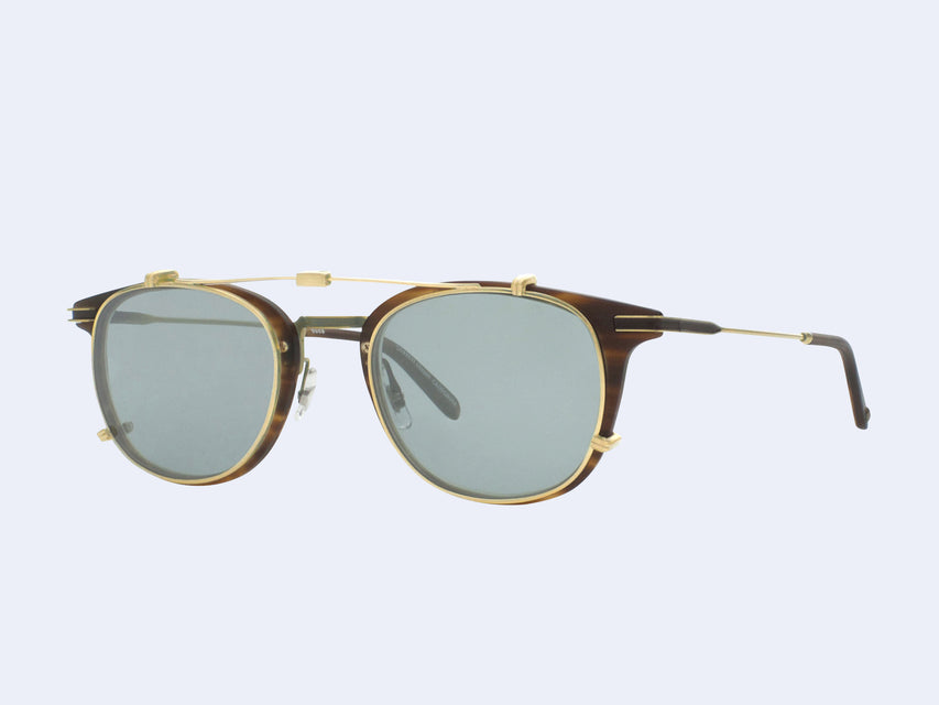 Garrett Leight Kinney Combo Clip (Brushed Gold with Soft Green Mirror Lens)