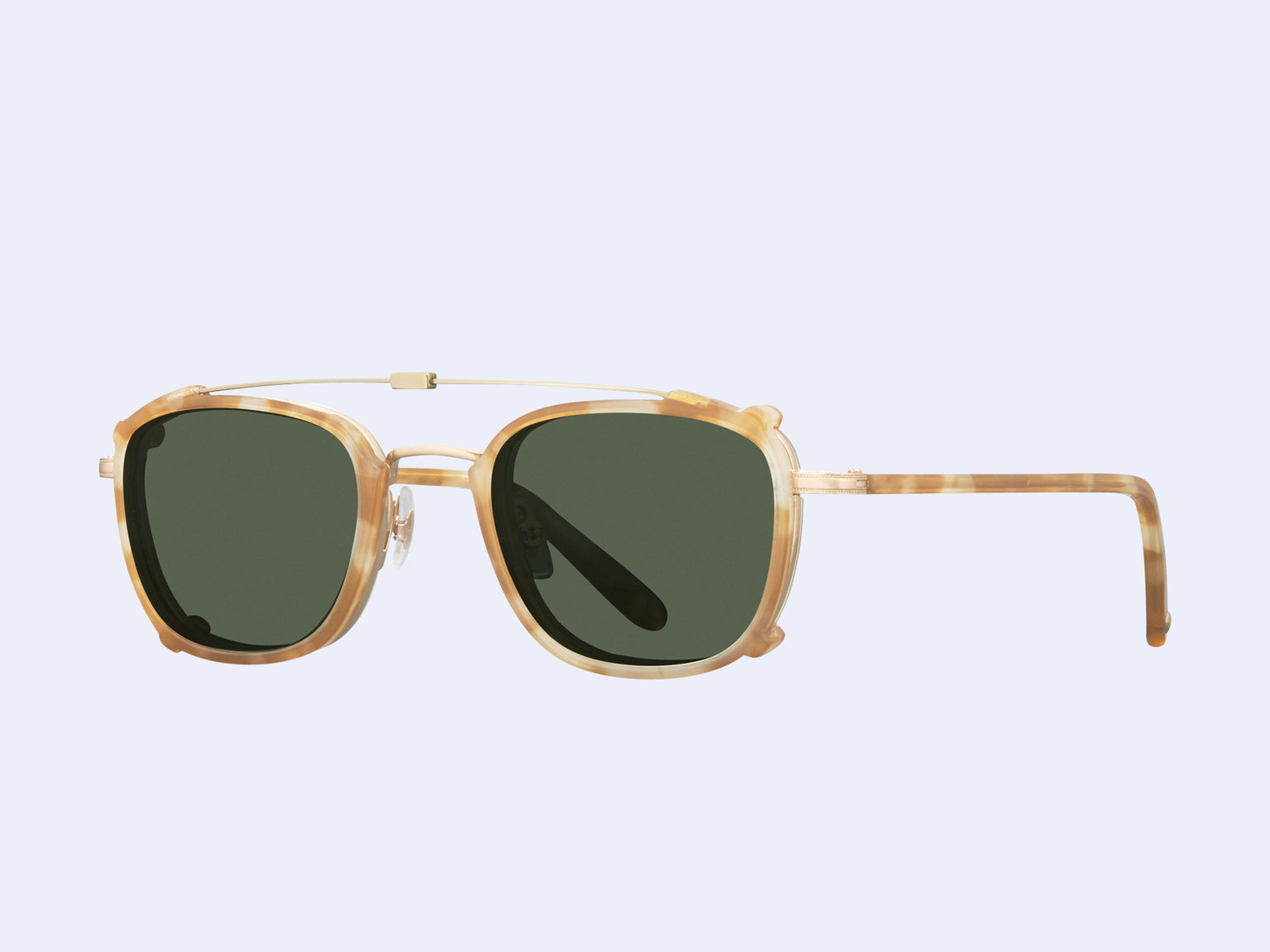 Garrett Leight Garfield Clip (Matte Gold-Blonde Shell with Green Lens)