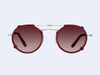 Garrett Leight Penmar Clip (Brushed Silver-Burgundy with Mulberry Gradient Mirror Lens)