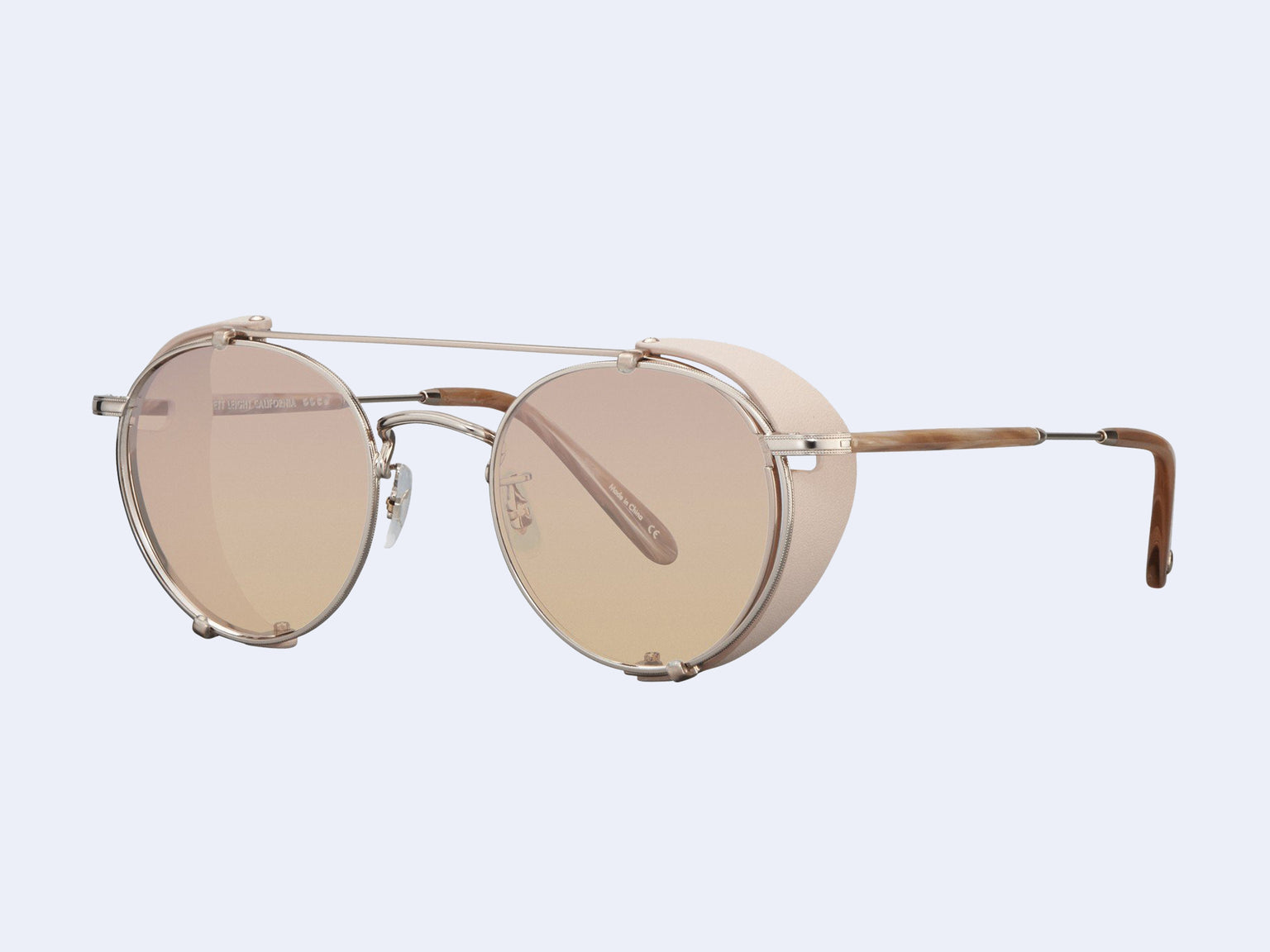 Garrett Leight Wilson M Clip-On Shield (Daydream Leather-Rose Gold)