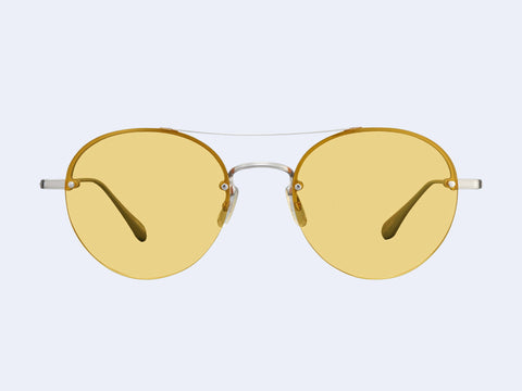 Garrett Leight Beaumont (Brushed Silver-Champagne with Shooter Yellow Lens)