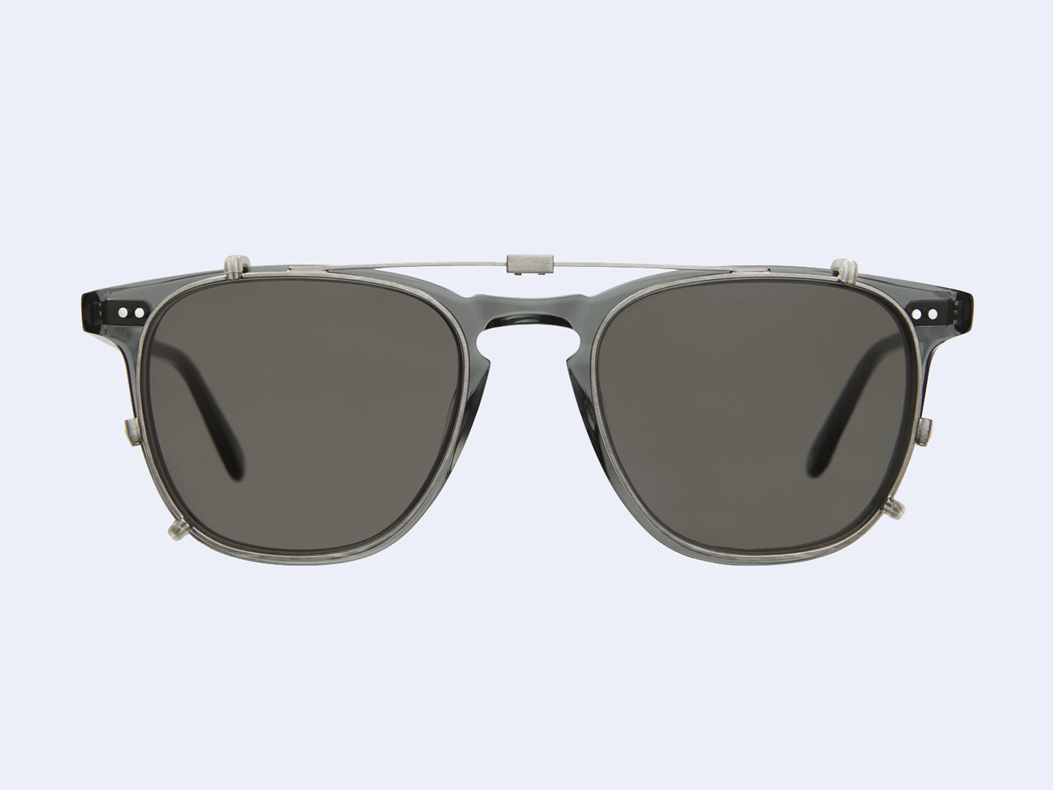 Garrett Leight Brooks Clip (Brushed Silver with G15 Lens)