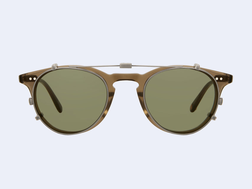 Garrett Leight Winward Clip (Brushed Silver with Green Lens)