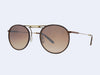 Garrett Leight Cordova Sun (Burgundy Leather Antique Gold with Brown Layered Mirror Lens)
