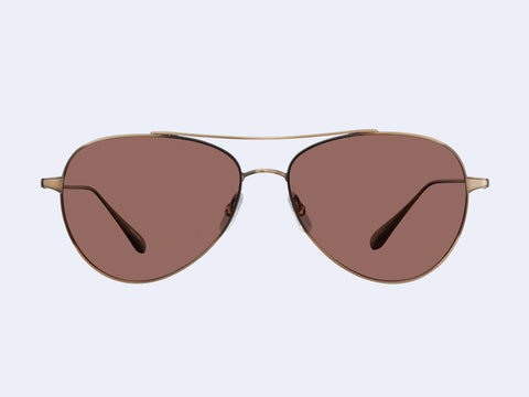 Garrett Leight Culver (Brushed Gold with Semi-Flat Redwood Lens)