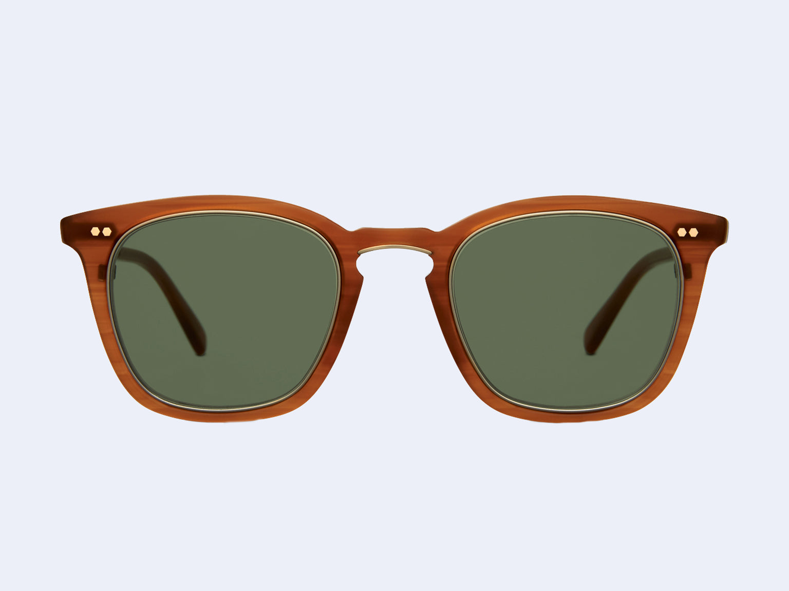 Mr Leight Getty S (Matte Caramel Tortoise-12K Matte White Gold with Semi-Flat Green Lens)