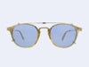 Garrett Leight Hampton Combo Clip (Gold with Soft Marine Mirror Lens)