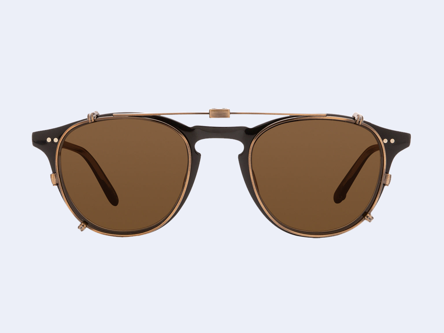 Garrett Leight Hampton Clip (Brushed Gold with Brown Lens)