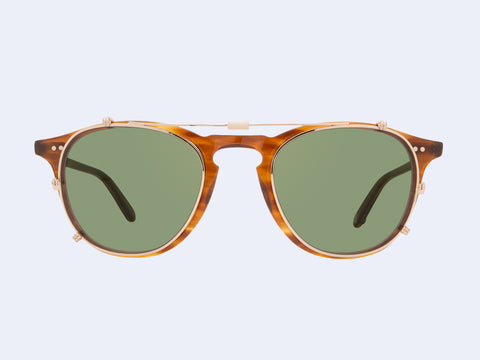 Garrett Leight Hampton Clip (Gold with Green Lens)