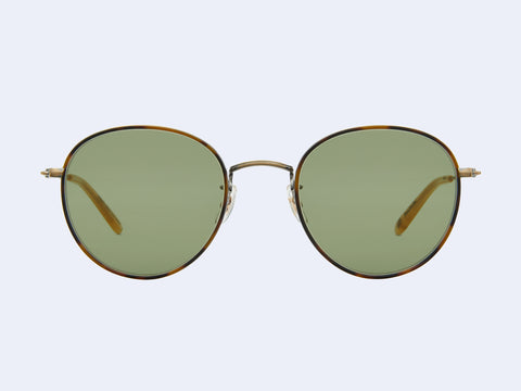 Garrett Leight Paloma Sun (Jaguar Tortoise-Antique Gold-Toffee with Semi-Flat Green Lens)