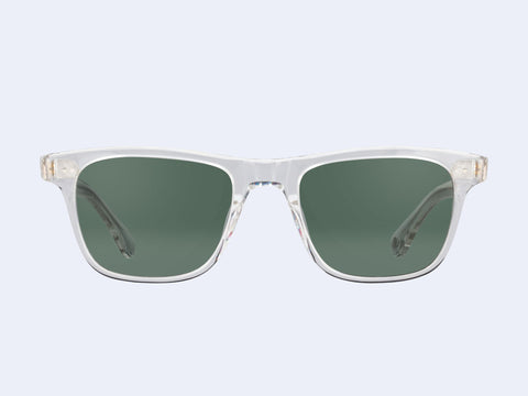 Garrett Leight Wavecrest (Crystal with Semi-Flat with Green Grey Polar Lens)