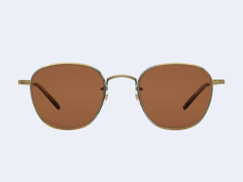 Garrett Leight World Sun (Antique Gold-Khaki Tortoise with Semi-Flat Oak Lens)