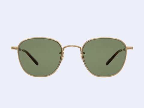Garrett Leight World Sun (Gold-Dark Honey Tortoise with Semi-Flat Green Lens)