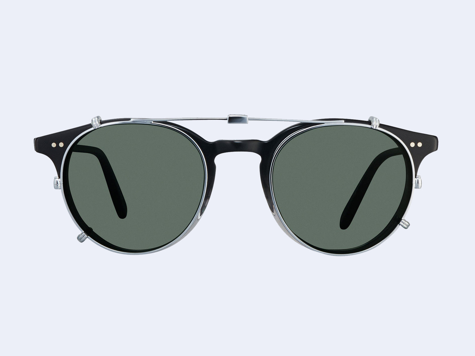 Garrett Leight Clune Clip (Silver with Green)