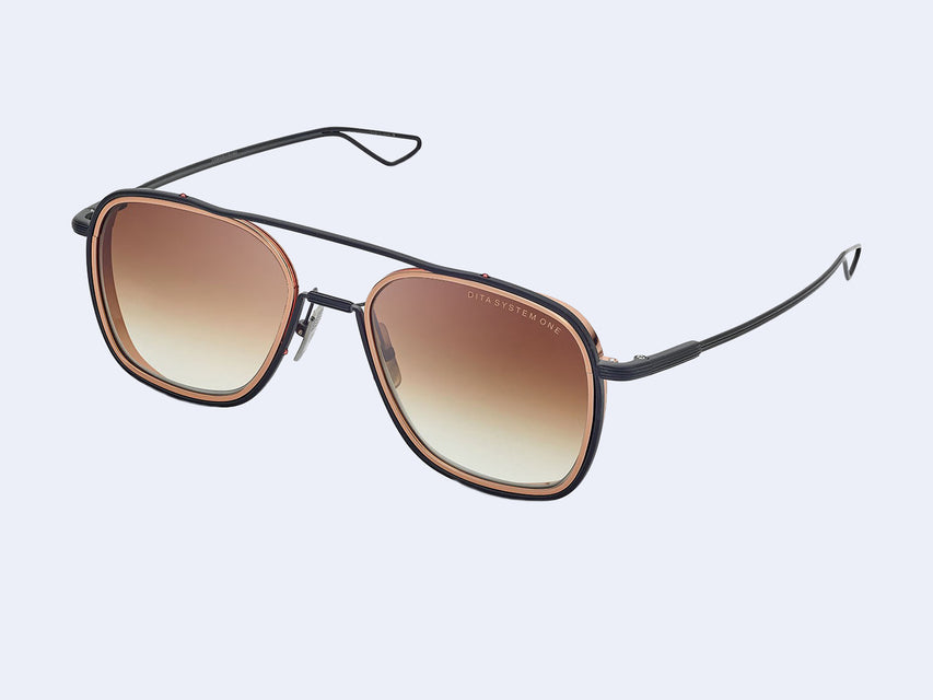 DITA SYSTEM-ONE (Rose Gold-Black Iron with Brown Gradient Lens)