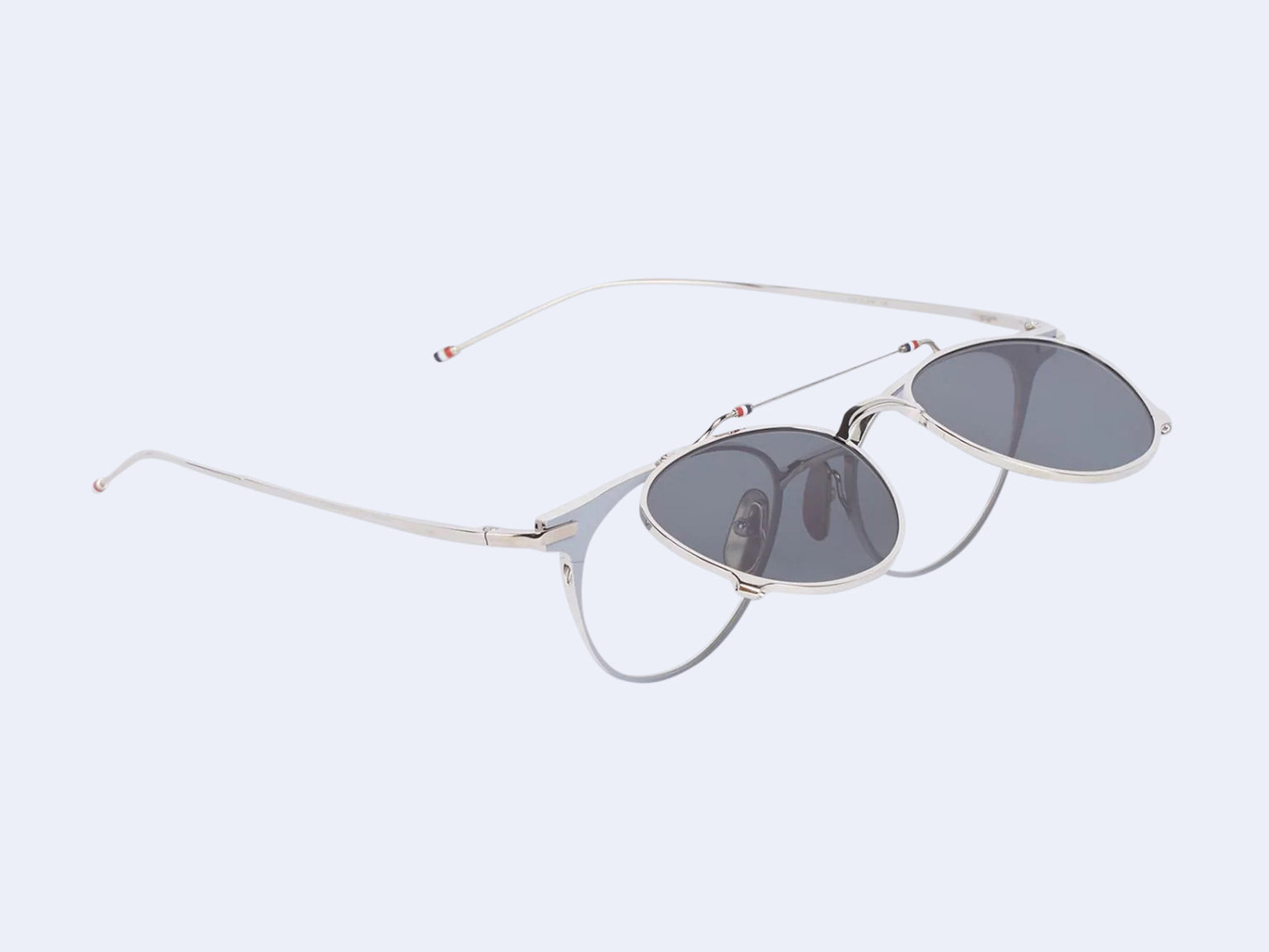 Thom Browne TB-814 Sun (Grey-Silver with Dark Grey Flip Clip)