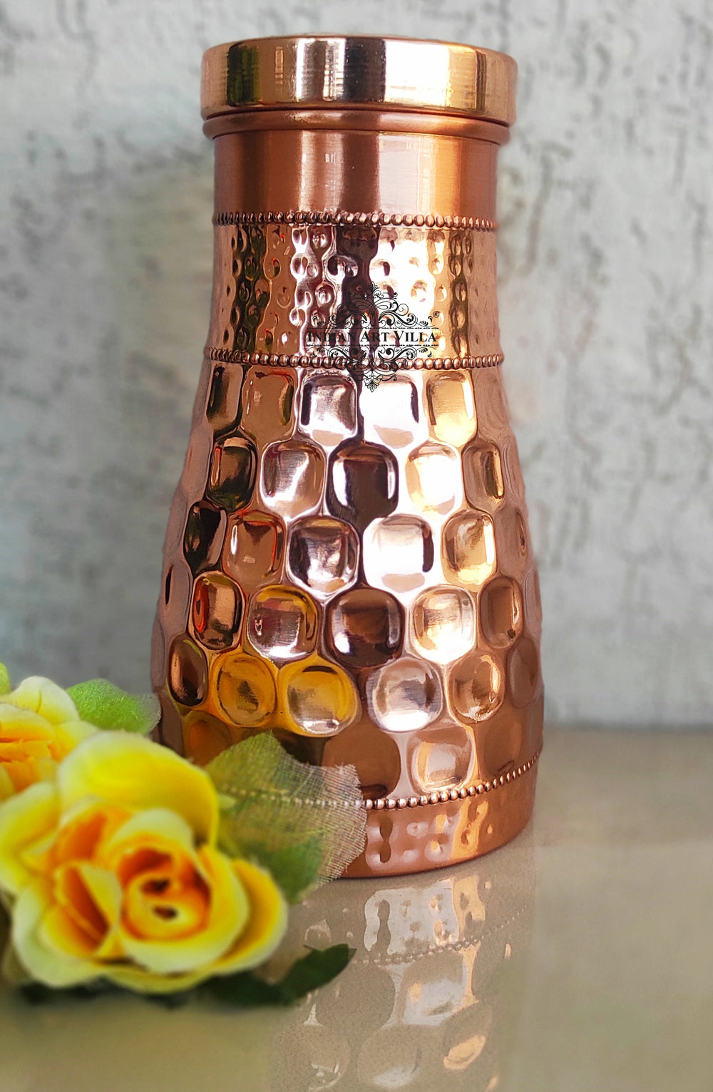 Copper Diamond Hammered Design Bedroom Bottle with Inbuilt Glass, Volume- 29 Oz