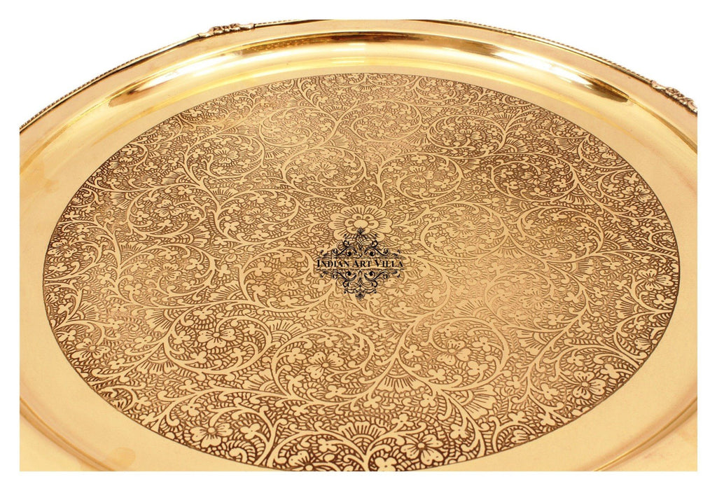 "21"" Brass Embossed Design Big Jumbo Plate Brass Plates Indian Art Villa"