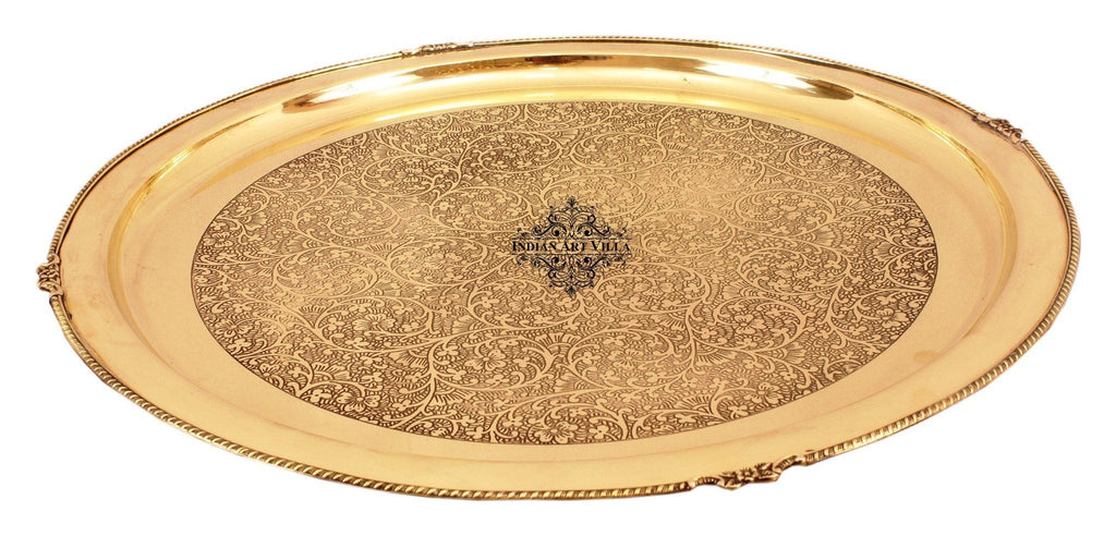 "21"" Brass Embossed Design Big Jumbo Plate"