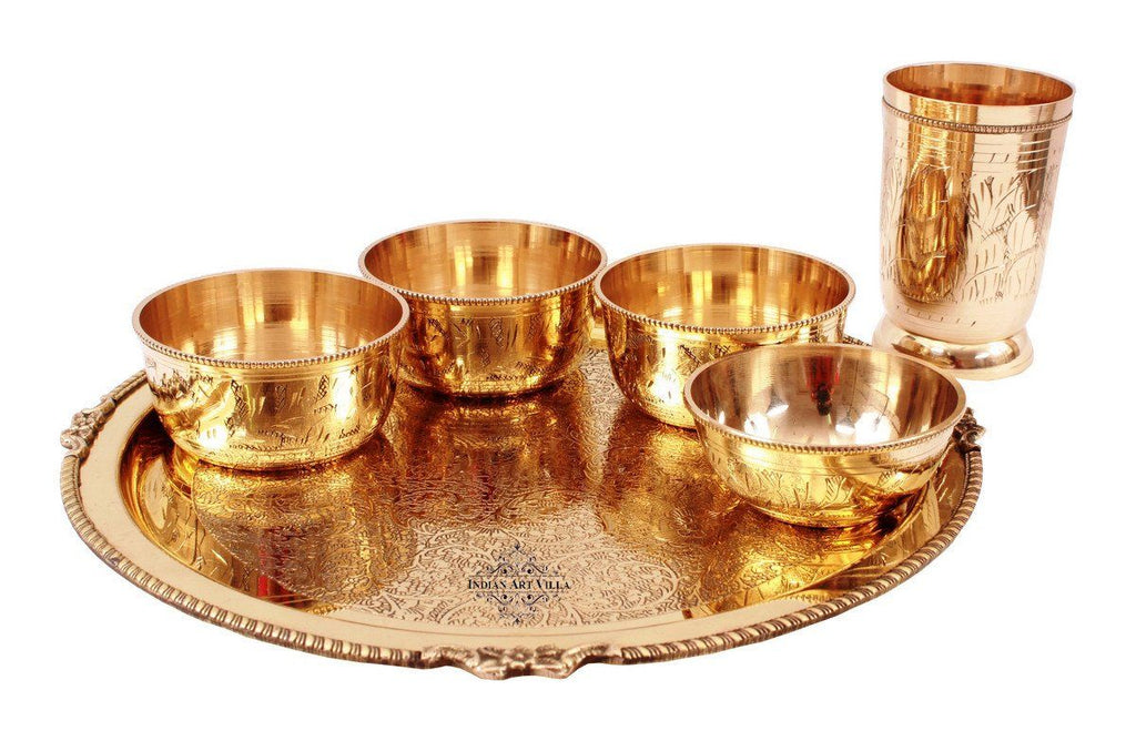 6 Piece Brass Mughlai Style Dinner Multi Cuisine Set