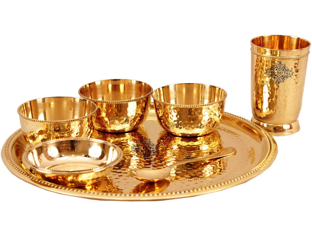 7 Piece Brass Hammered Dinner Thali Set
