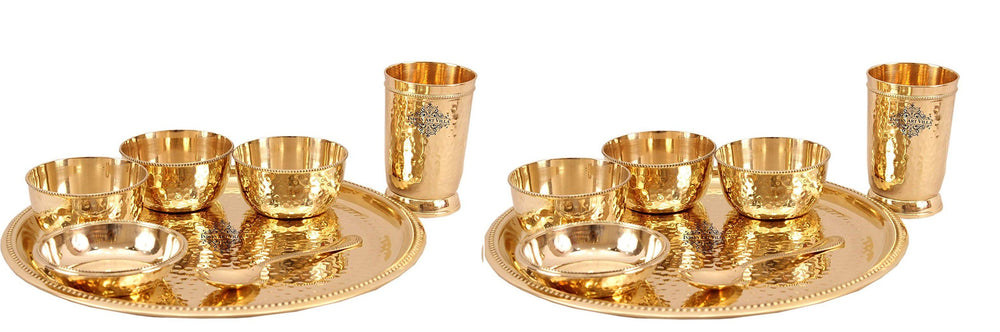 7 Piece Brass Hammered Dinner Thali Set Brass Dinner Set IAV-BB-TW-102- 2 Set