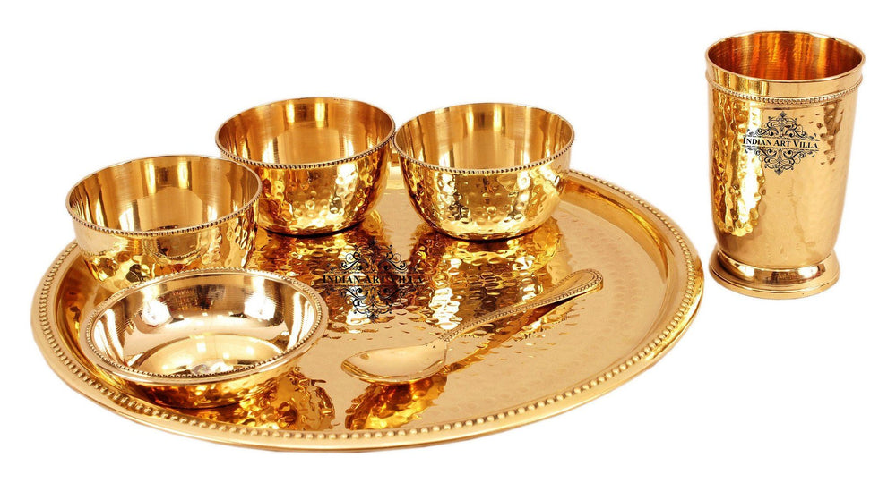 7 Piece Brass Hammered Dinner Thali Set Brass Dinner Set IAV-BB-TW-102-