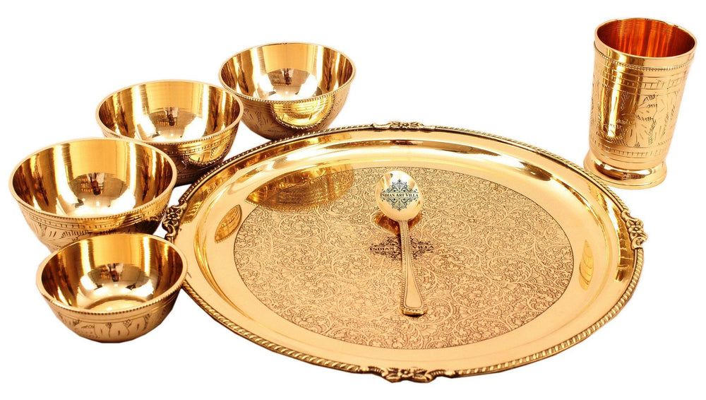 7 Piece Brass Mughlai Style Dinner Multi Cuisine Set