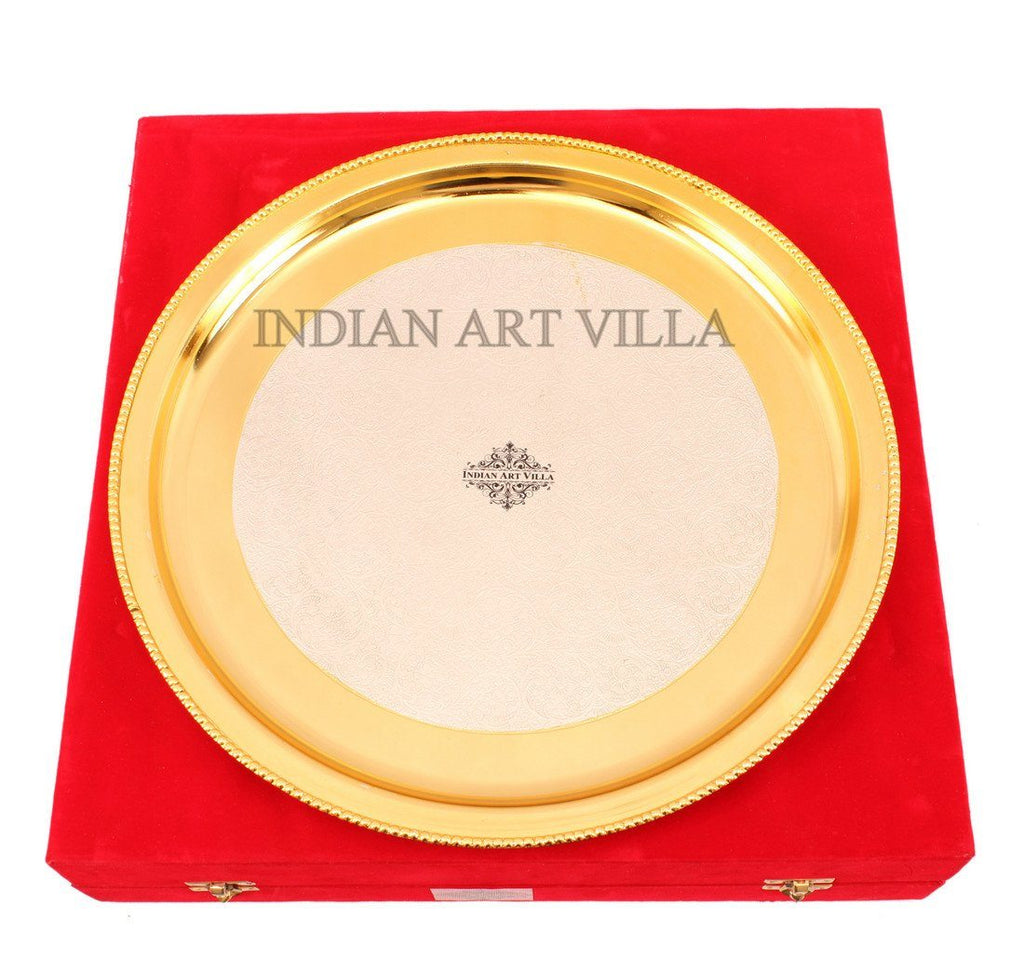 7 Piece Silver Plated Gold Polish Dinner Set Silver Plated Dinner Sets Indian Art Villa