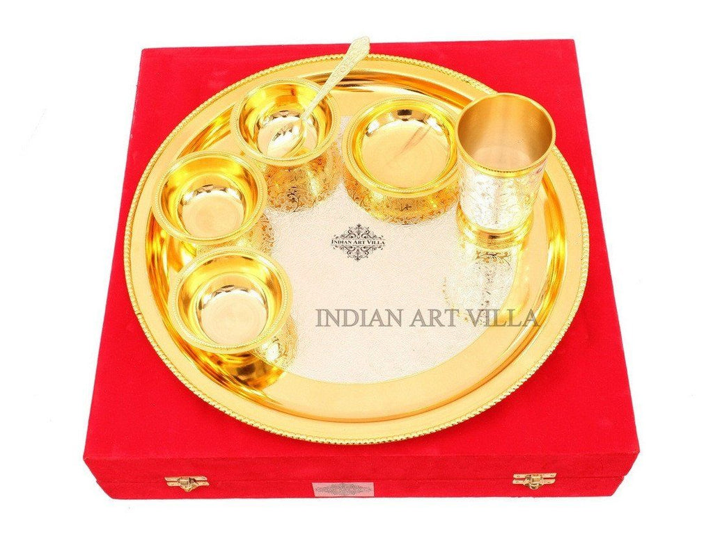 7 Piece Silver Plated Gold Polish Dinner Set