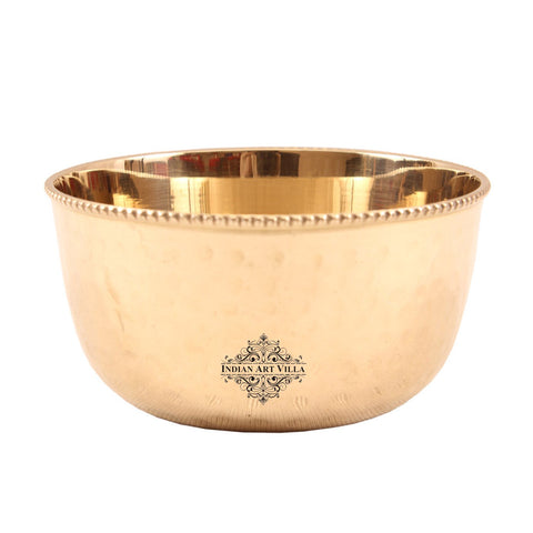 Brass Small Hammered Beeded Bowl Serving Vegetable 8 Oz