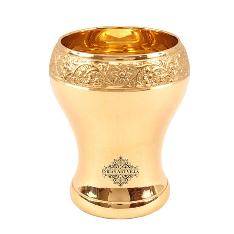 Brass Curved Mughlai Design Glass Tumbler 11 Oz