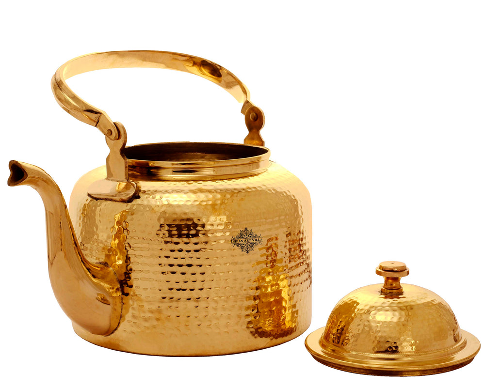 Brass Hammered Design Tea Kettle Pot Inside Tin Lining, Serving Tea Coffee, Tableware, 236 Oz, Gold