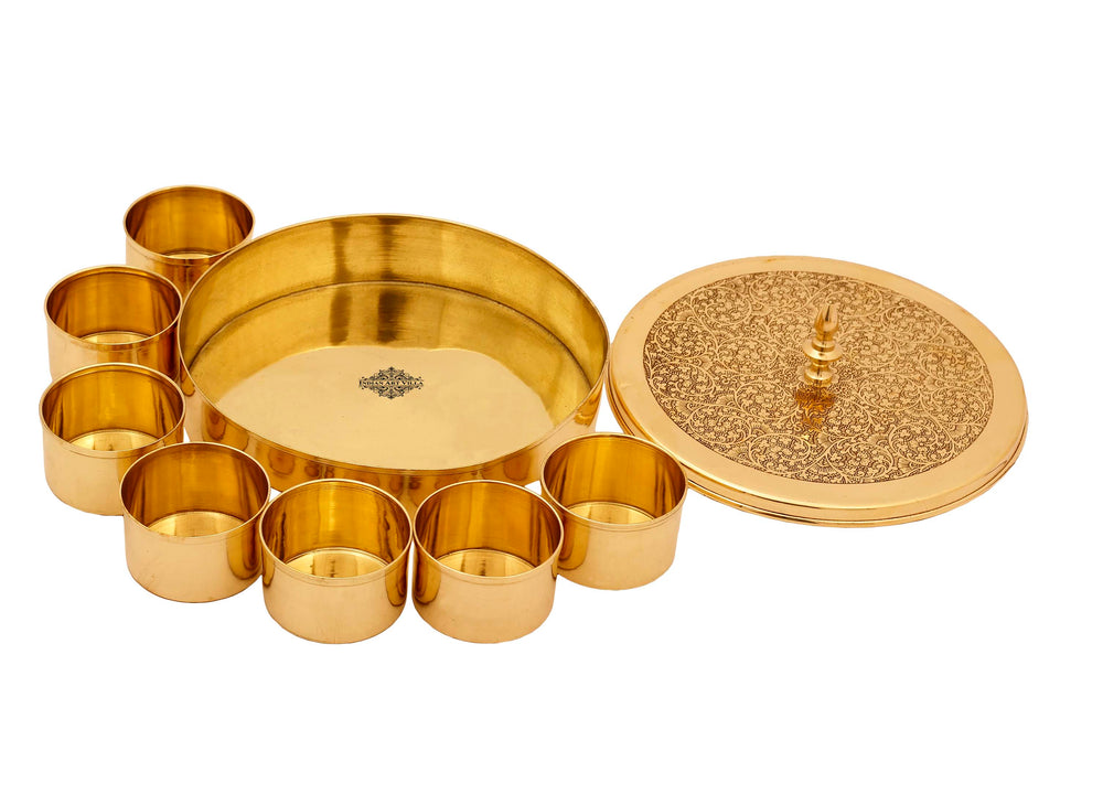 Brass Handmade Masala Box Dabba Spice Container With Embossed Lid 7 Compartments, Gold